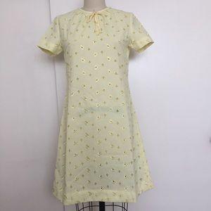 Vintage Yellow Sunshine Floral A-Line Dress